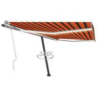 vidaXL Luifel handmatig uittrekbaar met LED 450x300 cm oranje en bruin