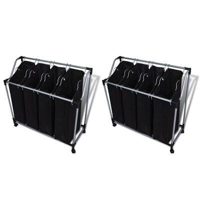 vidaXL Wassorteerders met zakken 2 st zwart en grijs