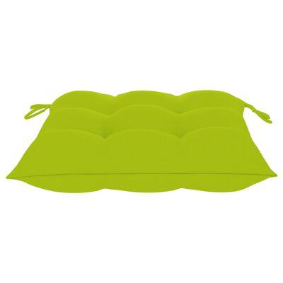 vidaXL Tuinstoelen 8 st met heldergroene kussens massief teakhout