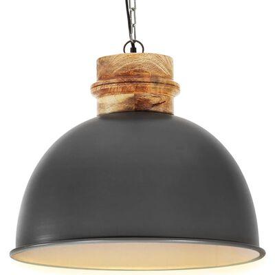 vidaXL Hanglamp industrieel rond E27 50 cm massief mangohout grijs