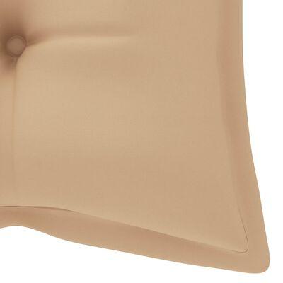 vidaXL Schommelbank met beige kussen 120 cm massief teakhout