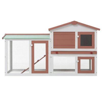 vidaXL Konijnenhok voor buiten groot 145x45x85 cm hout bruin en wit