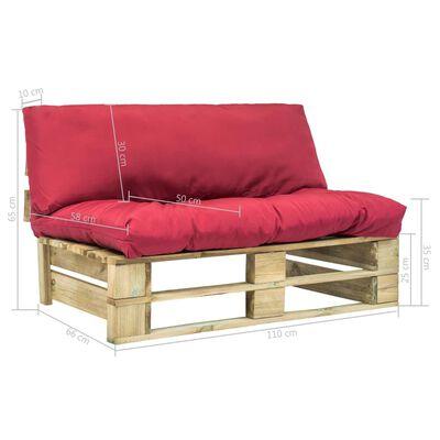 vidaXL Tuinbank met rode kussens pallet grenenhout