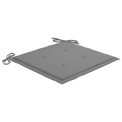 vidaXL Eetkamerstoelen 4 st met grijze kussens massief teakhout