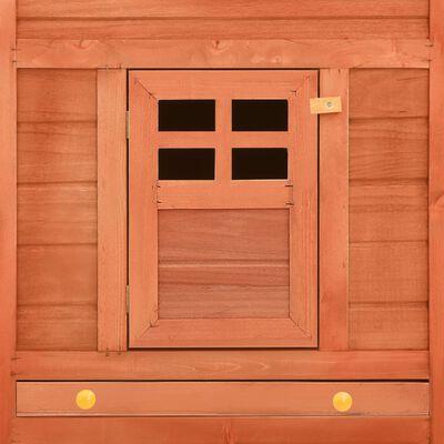 vidaXL Konijnenhok voor buiten met ren massief vurenhout bruin