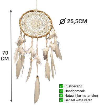 Dromenvanger Gehaakt - Dreamcatcher 70cm - Dromen Vanger Wit Met Veren