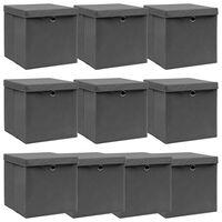 vidaXL Opbergboxen met deksel 10 st 32x32x32 cm stof grijs