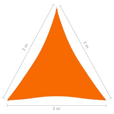 vidaXL Zonnescherm driehoekig 3x3x3 m oxford stof oranje
