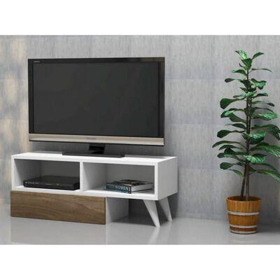 Homemania Tv-meubel Active 140x29,7x35 cm wit en walnootkleurig