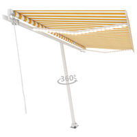 vidaXL Luifel handmatig uittrekbaar met LED 450x350 cm geel en wit