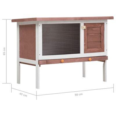 vidaXL Konijnenhok voor buiten met 1 verdieping hout bruin