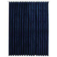 vidaXL Gordijn verduisterend met haken 290x245 cm fluweel blauw