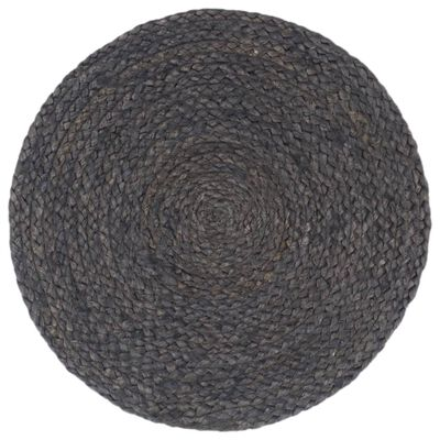 vidaXL Placemats 6 st rond 38 cm jute donkergrijs