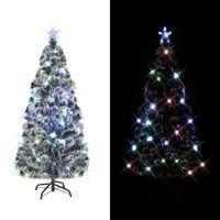 vidaXL Kunstkerstboom met standaard/LED 210 cm glasvezel