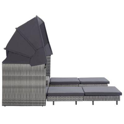 vidaXL Slaapbank met luifel 3-zits verlengbaar poly rattan grijs