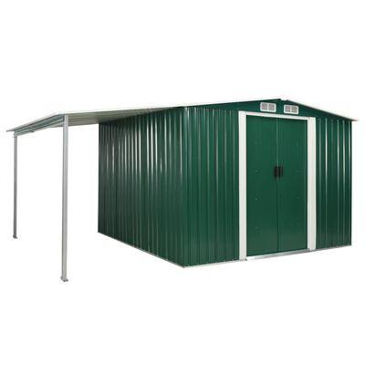 vidaXL Tuinschuur met schuifdeuren 386x259x178 cm staal groen