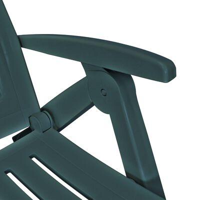 vidaXL Ligstoel met voetensteun kunststof groen