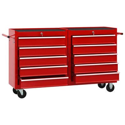 vidaXL Gereedschapswagen met 10 lades staal rood