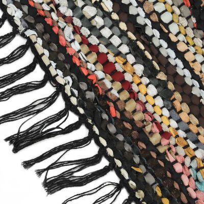 vidaXL Vloerkleed chindi handgeweven 190x280 cm leer meerkleurig