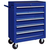 vidaXL Gereedschapswagen met 5 lades blauw