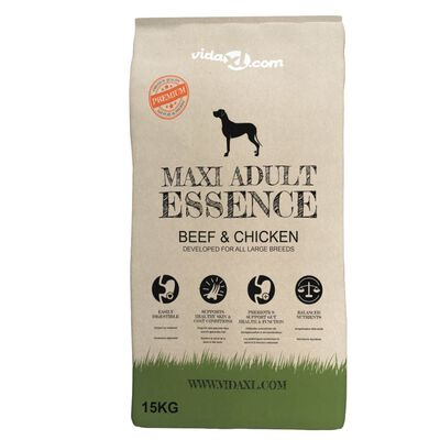 vidaXL Premium hondenvoer Maxi Adult Essence Beef & Chicken 30 kg 2 st,
