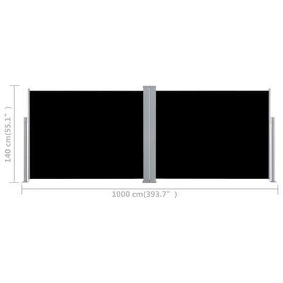 vidaXL Windscherm uittrekbaar 140x1000 cm zwart