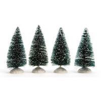 4x Kerstdorp onderdelen miniatuur boompjes met sneeuw 10 cm -