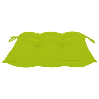 vidaXL Tuinstoelen 4 st met heldergroene kussens massief teakhout
