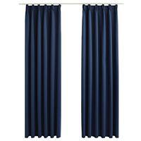vidaXL Gordijnen verduisterend met haken 2 st 140x245 cm blauw