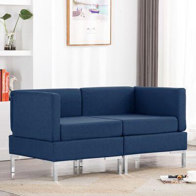 vidaXL Hoekbanken 2 st met kussens sectioneel stof blauw