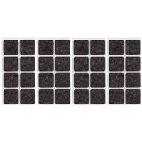32x Zwarte vierkante meubelviltjes/antislip noppen 2,5 cm -