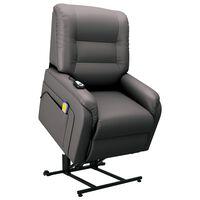 vidaXL Massagefauteuil elektrisch sta-op-stoel kunstleer grijs