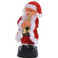 Dansende kerstman met saxofoon 20 cm - Bewegende kerstfiguren met