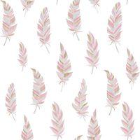 Urban Friends & Coffee Behang veren wit en roze