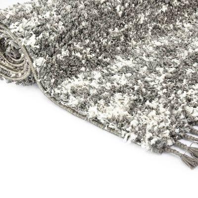 vidaXL Tapijt Berber shaggy hoogpolig 120x170 cm PP grijs en beige