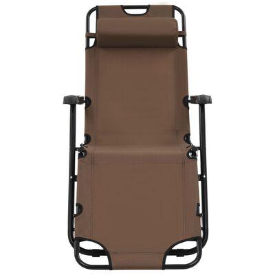 vidaXL Ligbedden inklapbaar 2 st met voetensteun staal bruin