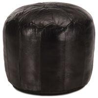 vidaXL Poef 40x35 cm echt geitenleer zwart