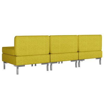 vidaXL Middenbanken 3 st met kussens sectioneel stof geel