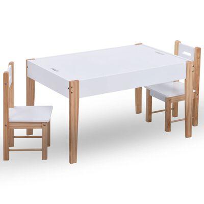 vidaXL 3-delige Kindertafel- en stoelenset zwart en wit