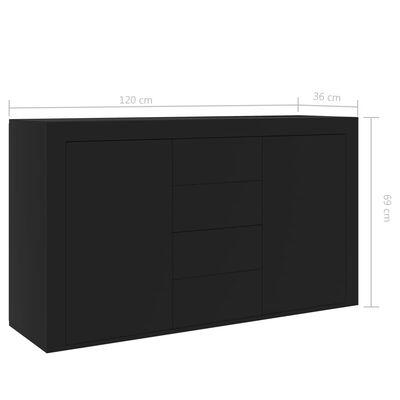 vidaXL Dressoir 120x36x69 cm spaanplaat zwart