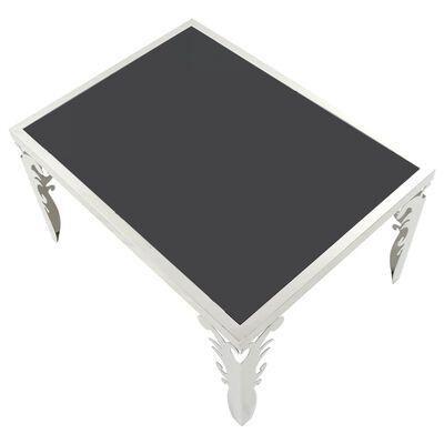 vidaXL Salontafel gespiegeld 80x60x44 cm roestvrij staal en glas