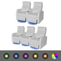 vidaXL LED-stoel set 2+3-zits kunstleer wit