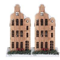 2x Kerstdorpen bouwen kersthuisjes amterdamse grachtenpand halsgevel