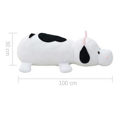 vidaXL Knuffel koe pluche wit en zwart