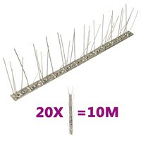 vidaXL Vogel- en duivenpinnen met 5 rijen 20 st 10 m roestvrij staal