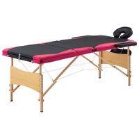 vidaXL Massagetafel inklapbaar 3 zones hout zwart en roze