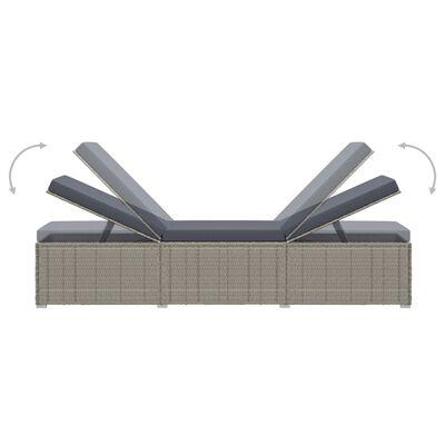 vidaXL 3-delige Ligbeddenset met theetafel poly rattan grijs
