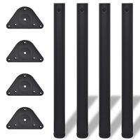 vidaXL Tafelpoten in hoogte verstelbaar zwart 710 mm 4 st