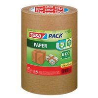 Tesapack paper ecoLogo, ft 50 mm x 50 m, bruin, pak van 3 stuks.