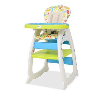 vidaXL Kinderstoel met blad 3-in-1 verstelbaar blauw en groen